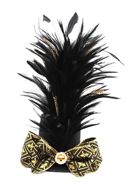 Black and Gold Light Harlequin Mini Top Hat