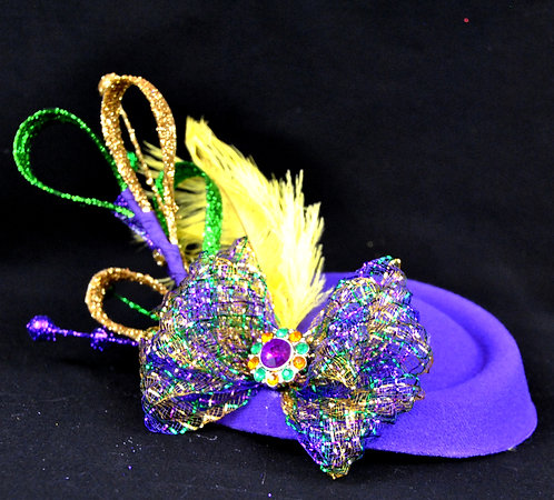 Mardi Gras Pillbox Fascinator