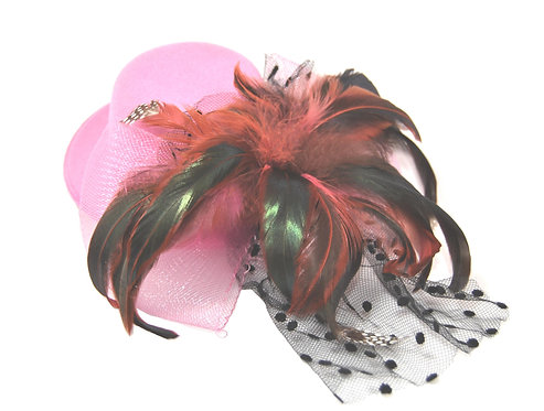 "Pink Plumed 5"" Mini Hat"