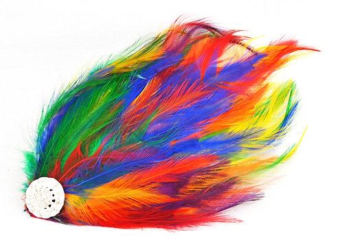 Rainbow Hackle Feather Hair Clip