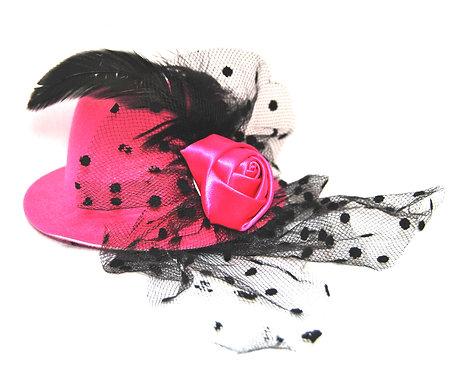 Rose Veil Mini Hat - Hot Pink