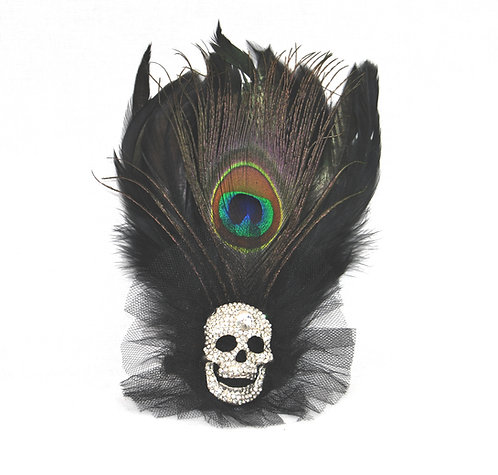 Shiney Skull Hair Clip / Brooch with Feathers