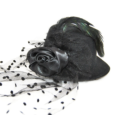 Rose Veil Mini Hat - Black