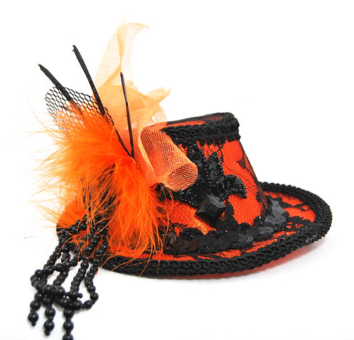 Black and Orange Lace Mini Hat
