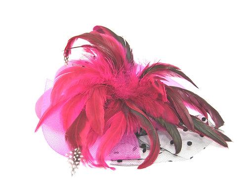 """Fuchsia / Hot Pink Plumed 5"""" Mini Hat"""