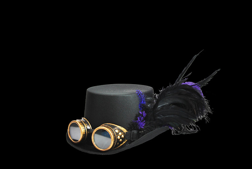 Satin Top Hat with Purple Accents and Goggles
