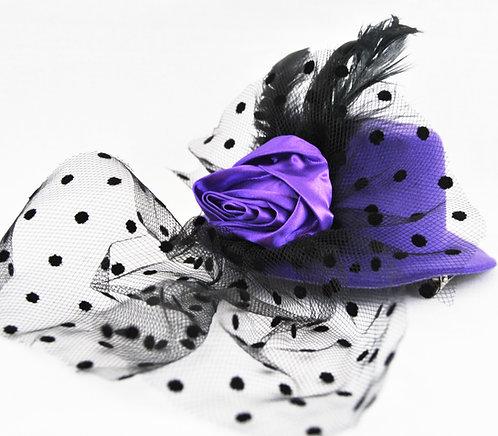 Rose Veil Mini Hat - Purple