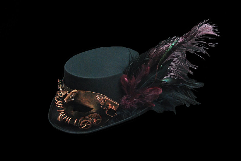Satin Top Hat with Wine Accents and Mask
