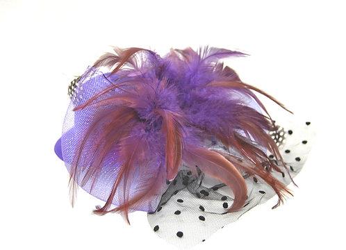 "Purple Plumed 5"" Mini Hat"