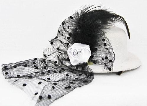 Rose Veil Mini Hat - White