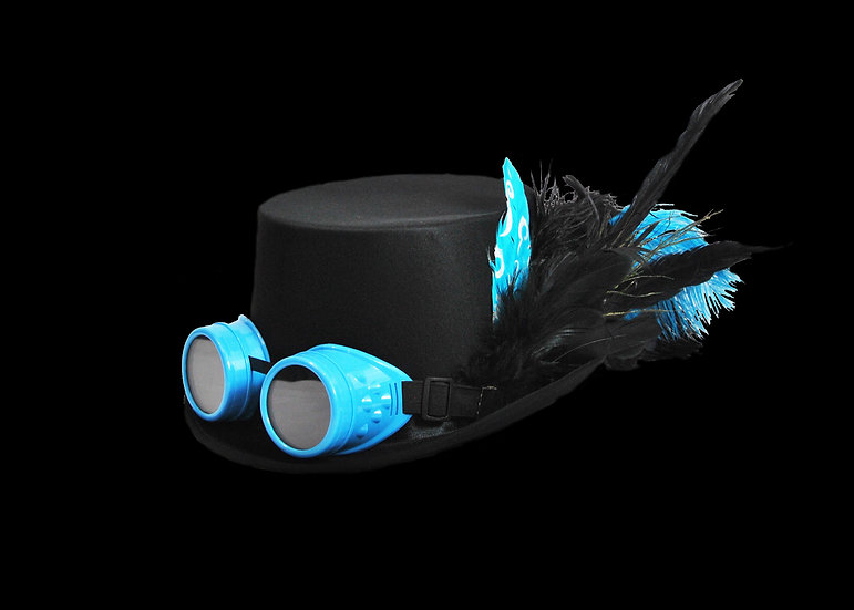 Satin Top Hat with Teal Accents and Goggles