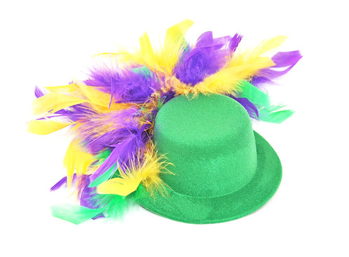 Purple Green & Gold Feather Hats - Multiple Colors