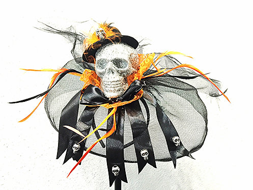 Mini Hatter Skull Veiled Headband/Fascinator