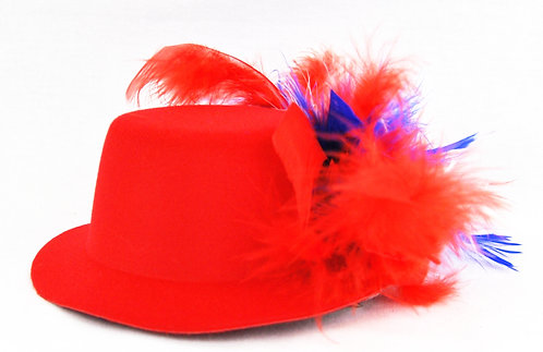 Red White & Blue Chandelle Mini Hat - Red