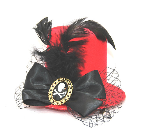 Skull Cameo Red Mini Top Hat