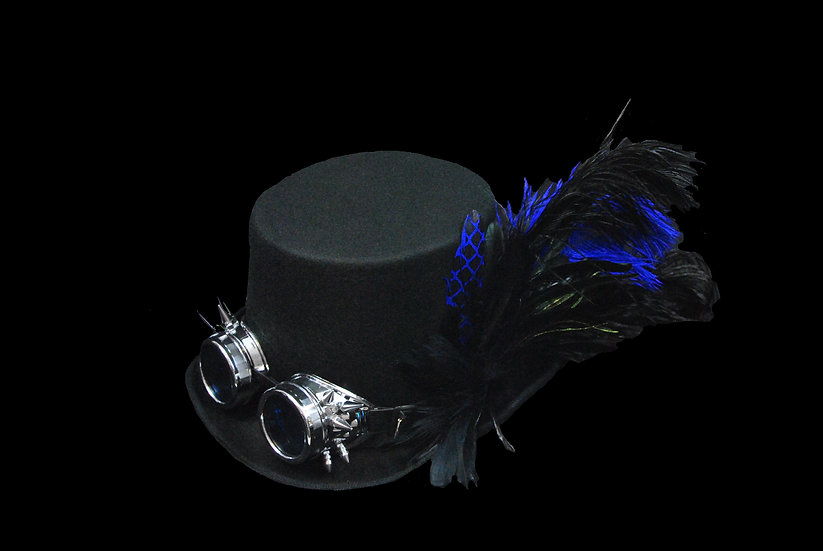 Blue and Black Top Hat with Spiked Goggles