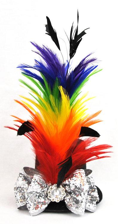 Rainbow Feathers Mini Top Hat