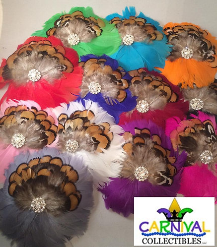 Feather Flower Hairclip / Brooch - Multiple Colors