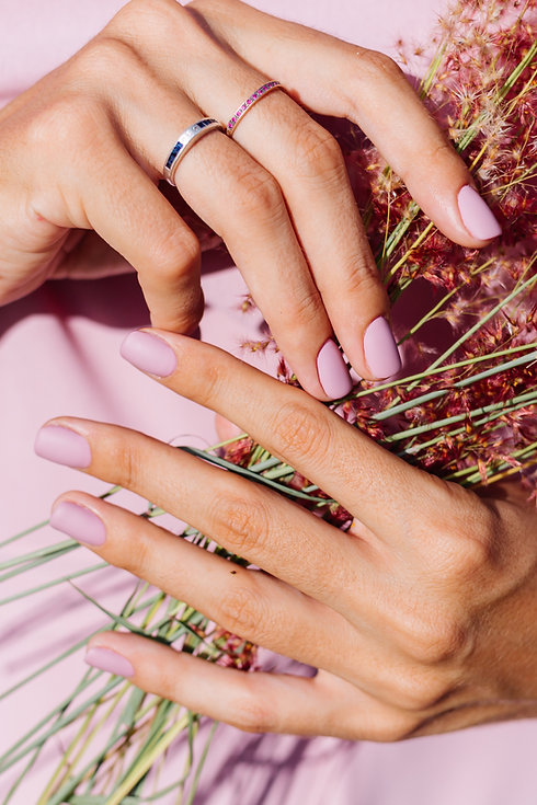 Close shot of romantic cute pink gel pol