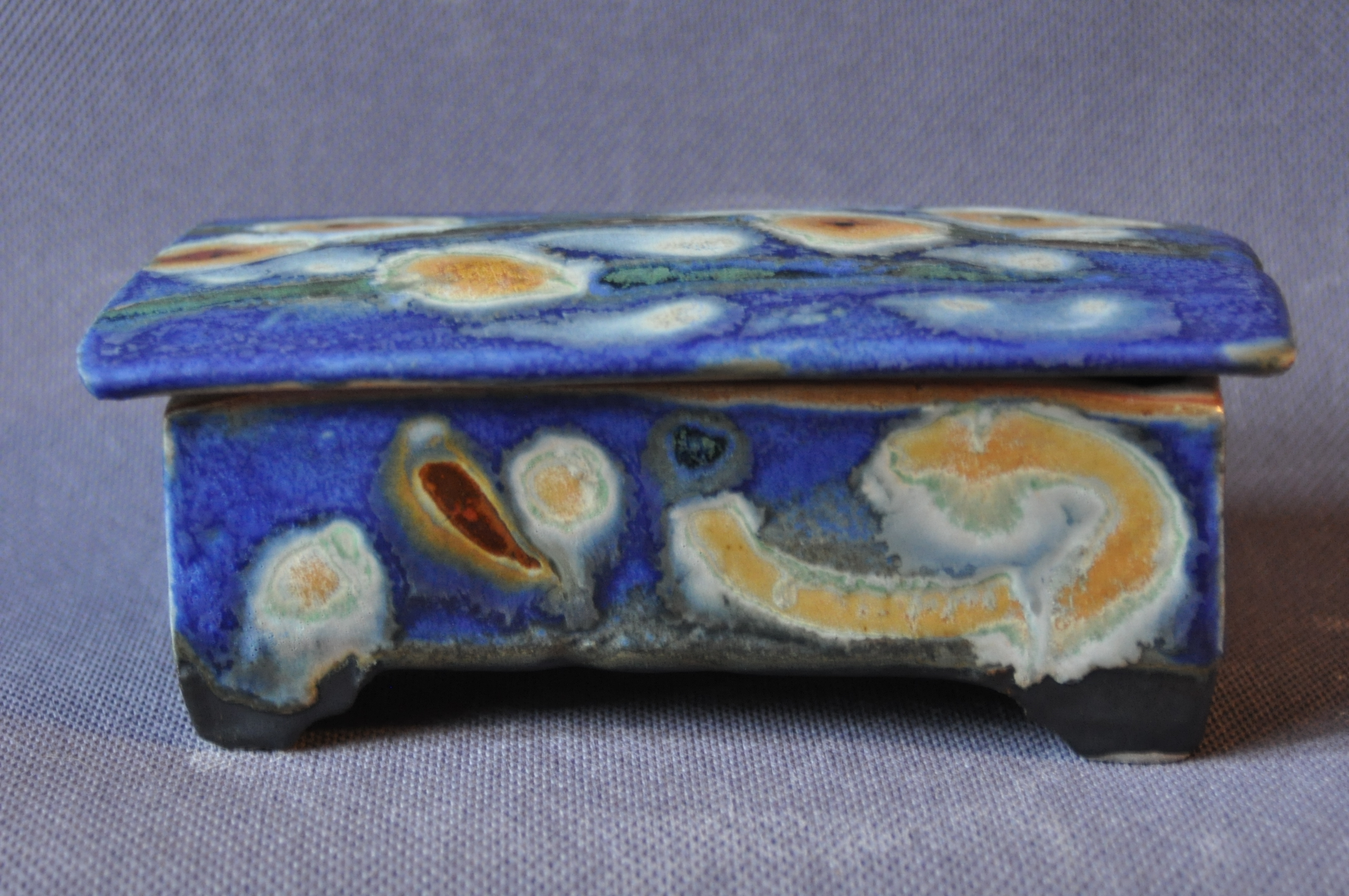 blue ceramic box.
