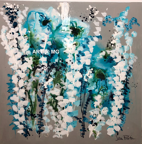 Teal, white and blue floral abstract by Jean Picton