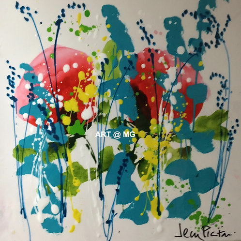 Abstract Floral painting by Jean Picton