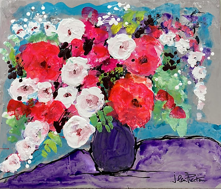 Flowers in Purple Jug by Jean Picton