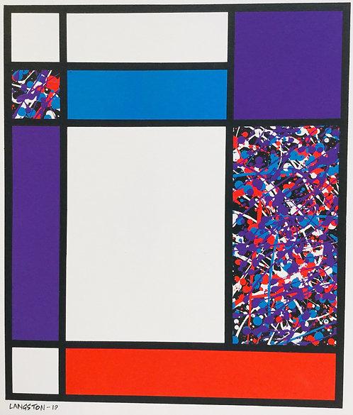 Mondrian Vs Pollock ( PURPLE) by Martin Langston