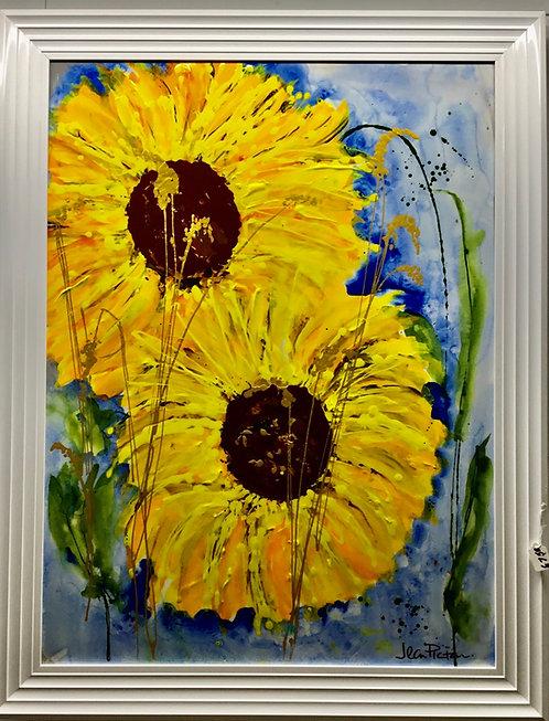 Sunflower painting acrylics on canvas.