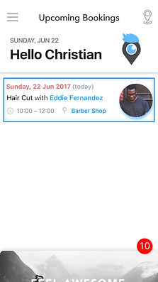 Digibarber app. Log in page use to find your local barber