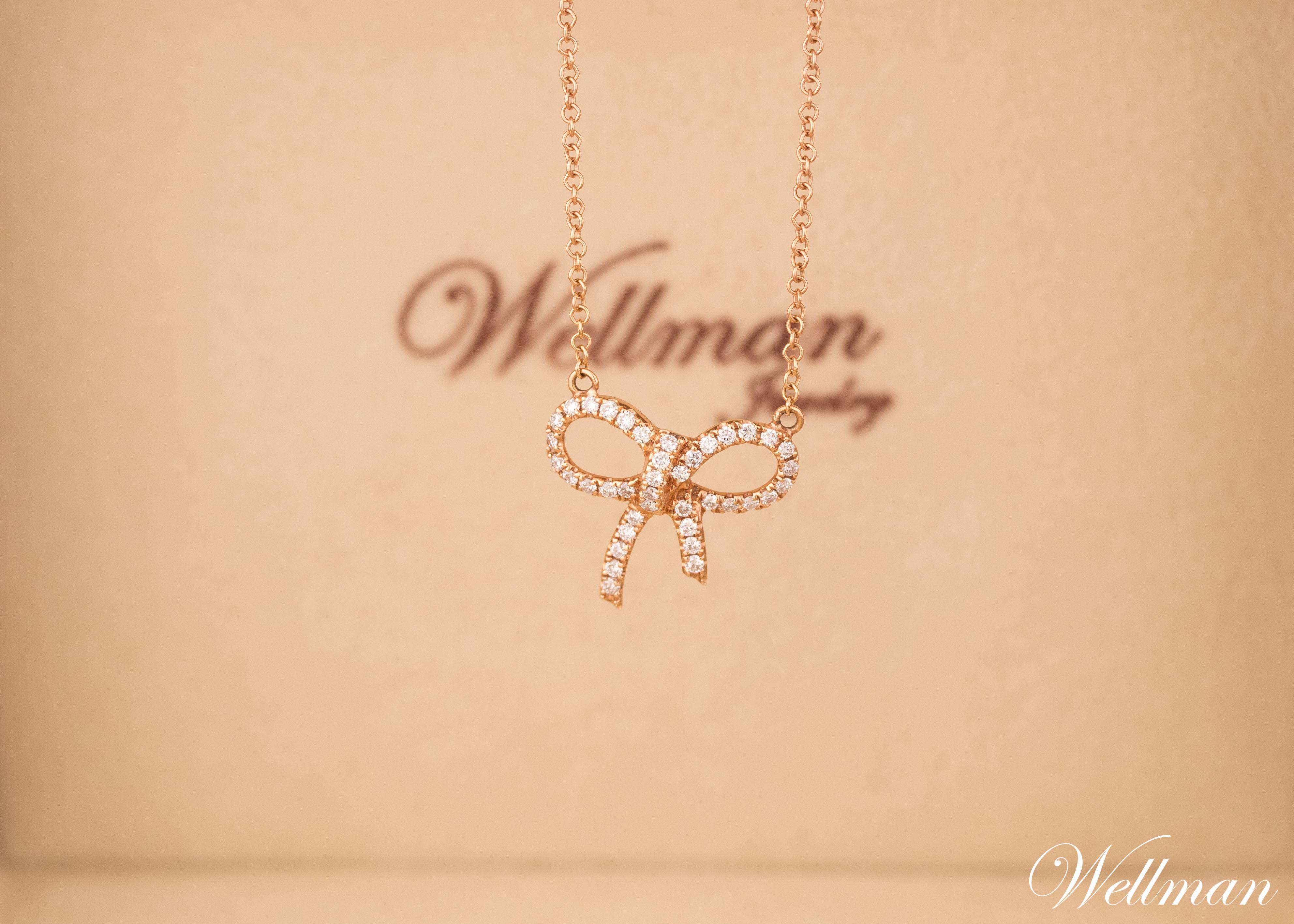 ribbon diamond necklace