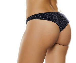 a woman shown from behind wearing slight, black panties - Brazilian Butt Lift image