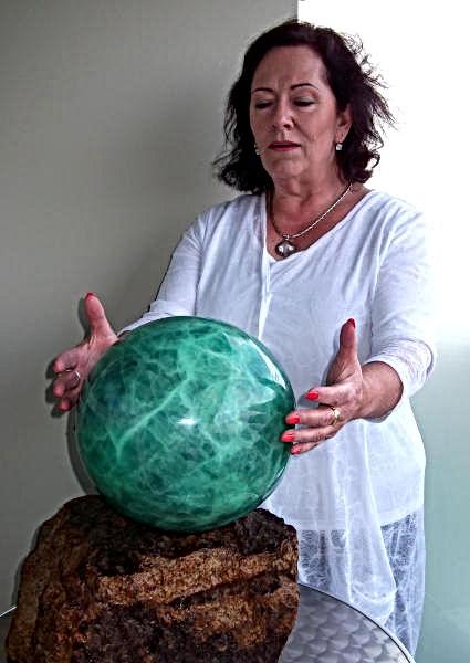 Janine and Fluorite Sphere.JPG