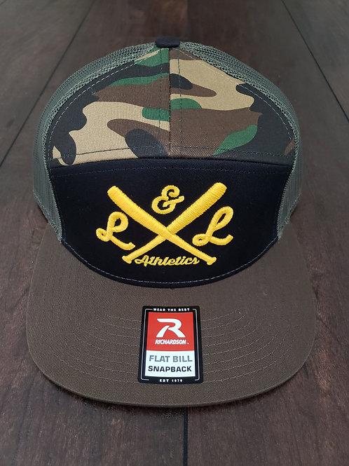 LLA Bats Embr. Camo/Army Green Mesh Snapback