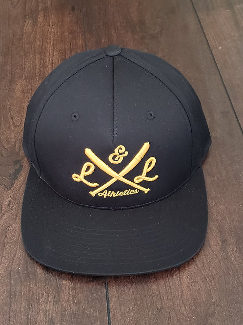 LLA Crossed Bats, Black Snapback, Gold Embroidery