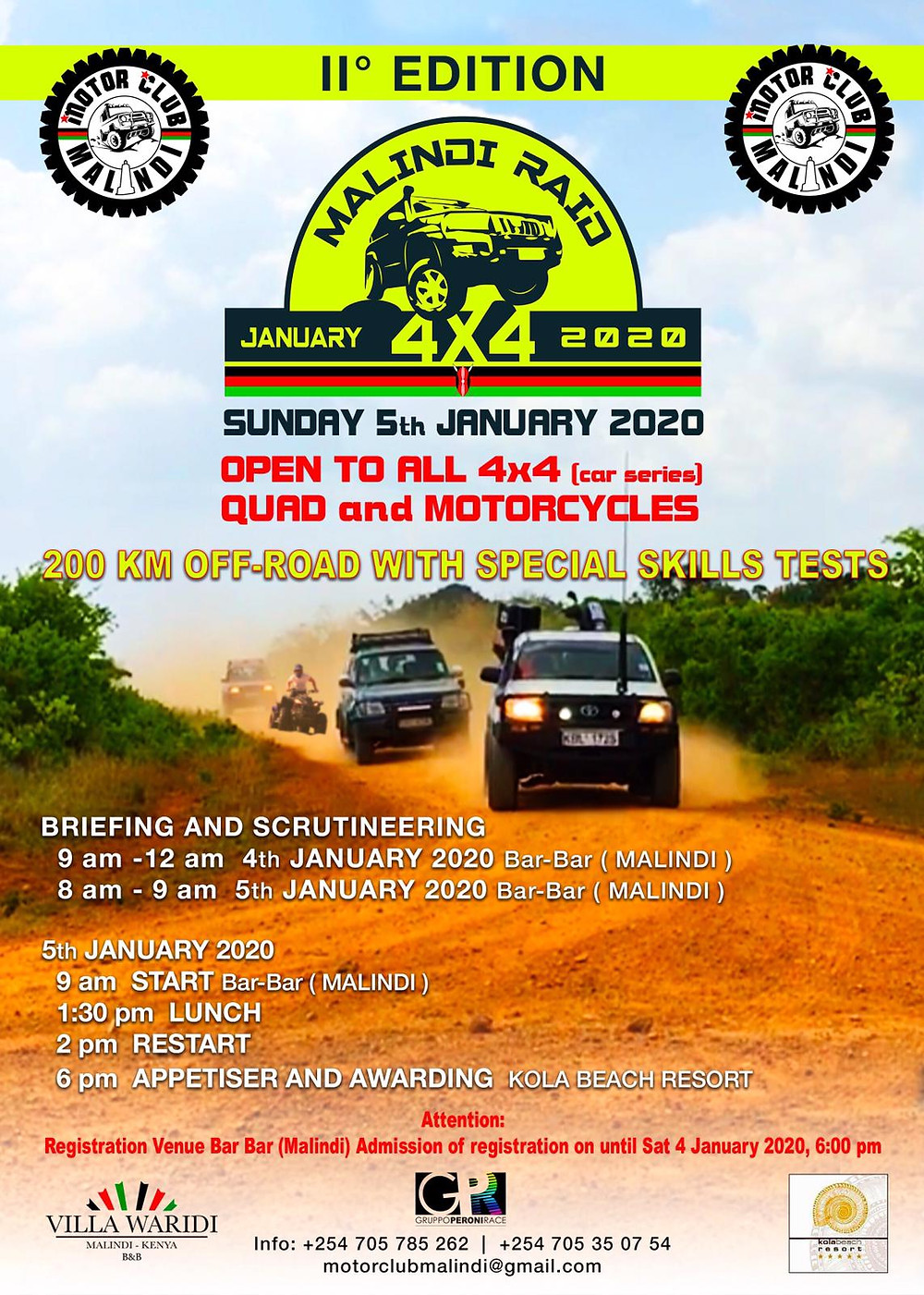 The flyer of the Malindi Raid 4x4 on 5th January 2020