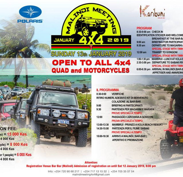 Flyer and agenda of the I Edition of the Malindi Meeting 4x4
