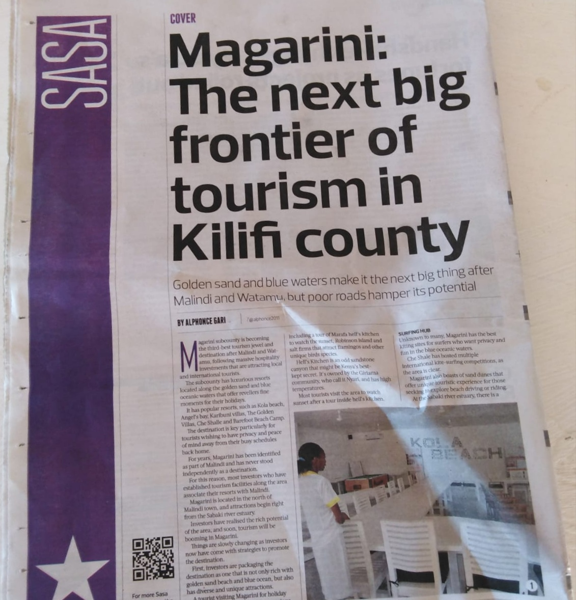 The article of The Star of 9-10 March 2019 talking about the grow of Magarini tourism