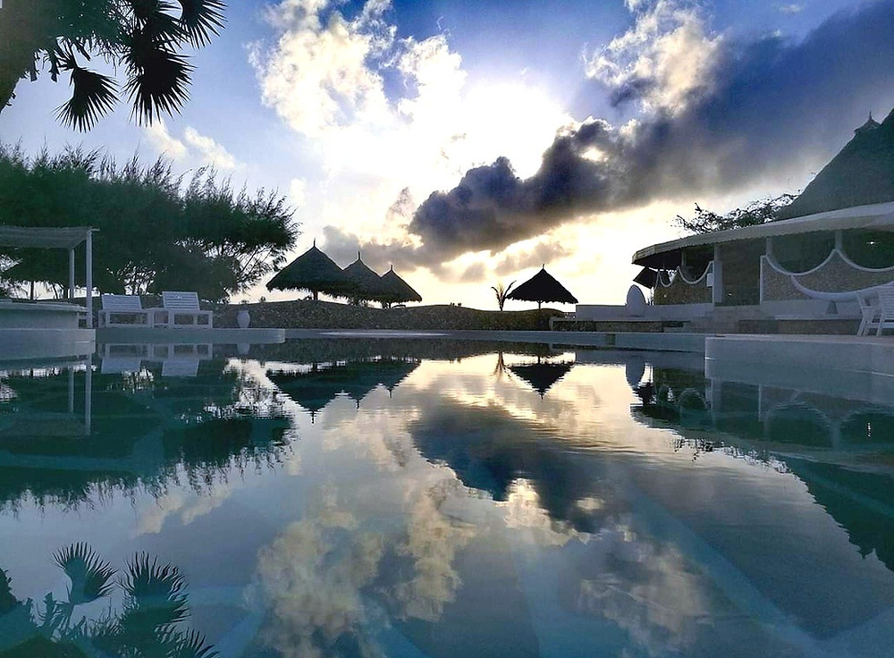 sunrise by the pool side of kola beach resort