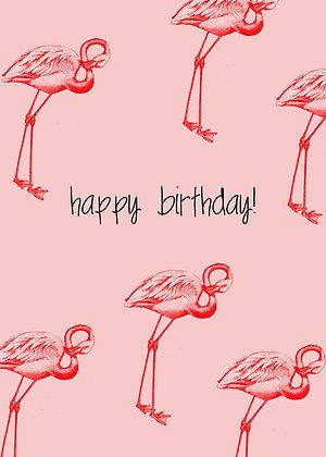 Happy Birthday - Flamingos