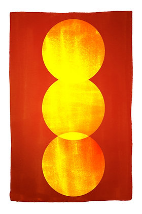 Three Yellow Circles On Red