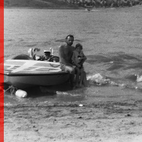 Vintage photo of discovering the thrills of Dad's skiboat.