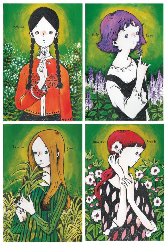津山のハーブ屋「香草工房」さんのイラスト描かせて頂きました