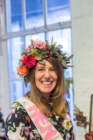 Bride beaming in her beautiful flower crown at PETAL