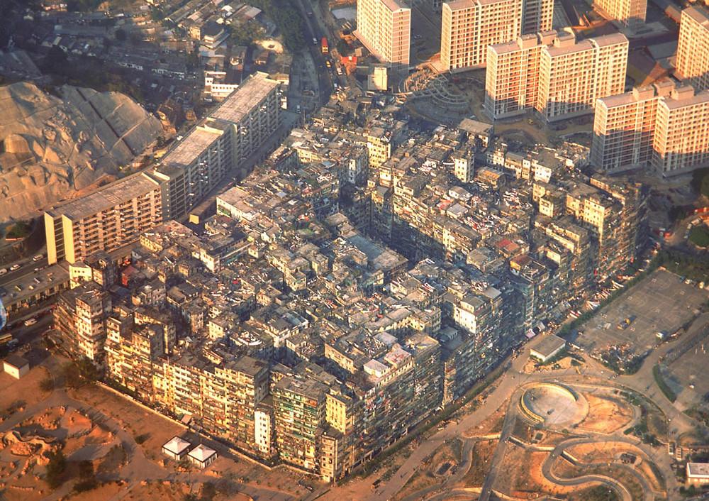 Город-крепость Коулун с самолета