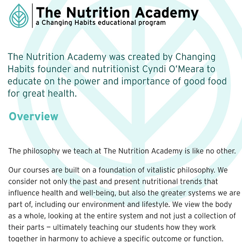 Changing Habits Nutrition Academy