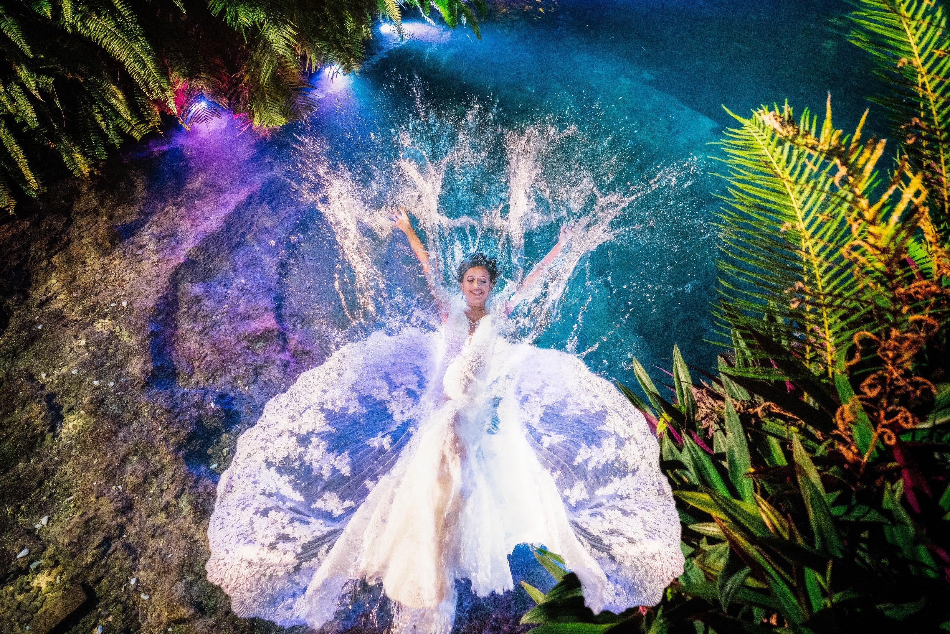 bride water splash