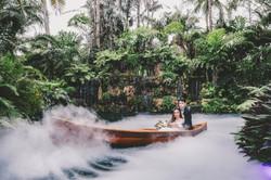 Wedding Photo inside a canoe