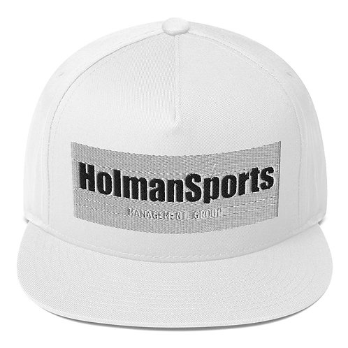 Holman Sports - White Flat Bill Snapback Cap