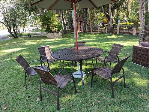Conjunto c/mesa ripada + 6 Cadeiras